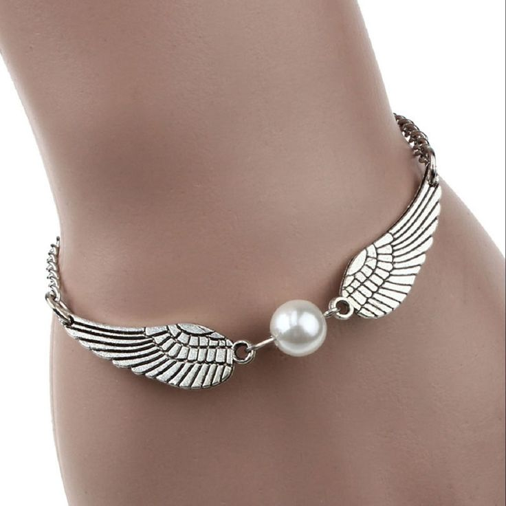 Lowpricenice(TM) Silver Infinity Retro Pearl Angel Wings Jewelry Dove Peace Bracelet