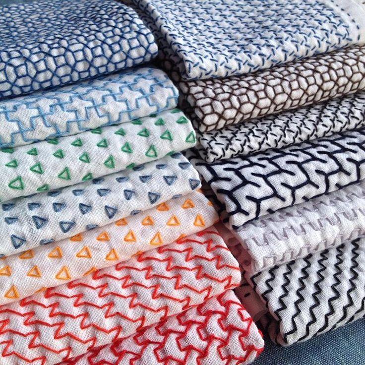 数ヶ月に一度のお楽しみ❤️ふきん集合写真また集合写真とれるように刺しましょ〜♪#刺し子#sashiko#花ふきん#sashikostitching#stitching#handstitched#キッチン雑貨