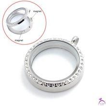 Vendita calda 30mm rotonda in acciaio inox cristallo d'argento medaglione galleggiante, memoria magnetica foto aperto fascino medaglioni pendenti p190