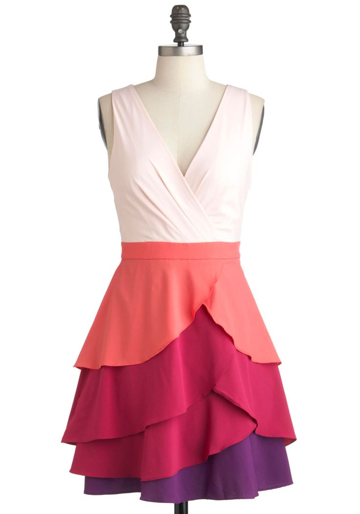 Admire the Hue Dress - Short, Multi, Orange, Purple, Pink, Color Block, Tiered, Prom, Party, A-line, Sleeveless, Spring