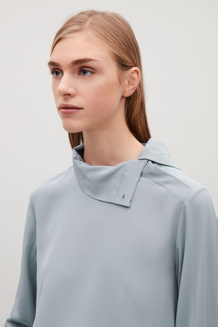 COS image 3 of High-neck silk blouse in Grey
