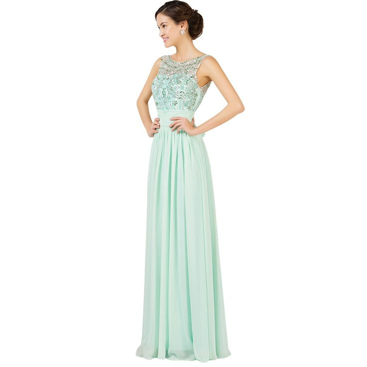Light Green Backless Sleeveless Bead Chiffon Long Formal Evening Dress