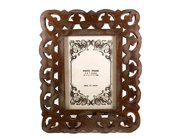 Frame of Love, a handmade, hand-painted grey wooden photo frame from India available in Norway and Sweden at Gauri Arts