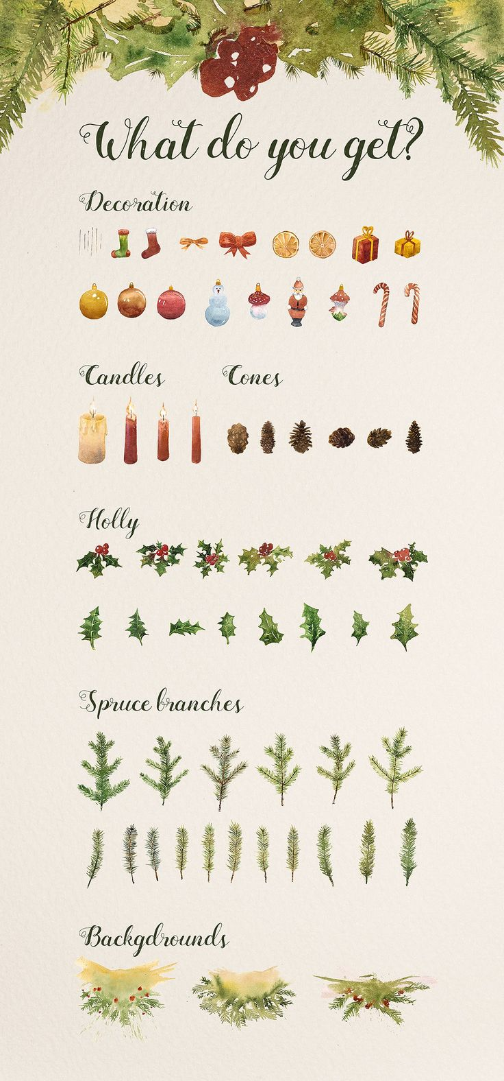 Watercolor Christmas Creator set by eVision.pl on @creativemarket