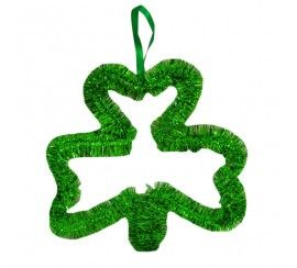Green Shamrock Decoration with White and Green Coiled Streamer