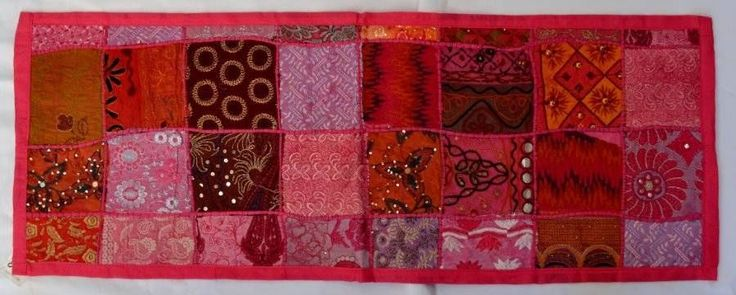 Indian Table Runner/Wall Hanging - Pink 36cm x 97cm  patchwork bohemian vintage $26.98