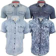 Mens Denim Shirt Soul Star Short Sleeved Indoor