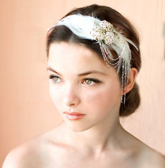 1920s Feather Headpiece, Bridal Hairband, Vintage Wedding Hairband, Feather Headband, Flapper Bridal Headpiece, Chain Headband - GATSBY