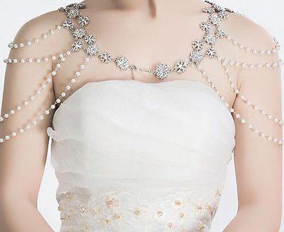 пара со стразами свадебный кремовый белый жемчуг бюстгальтер ремень через плечо с бретелью через шею ожерелье