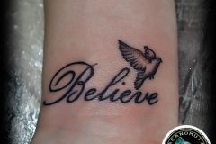 Tattoo lettering is a good choice for your arm tattoo. Ink your own small tattoo now.