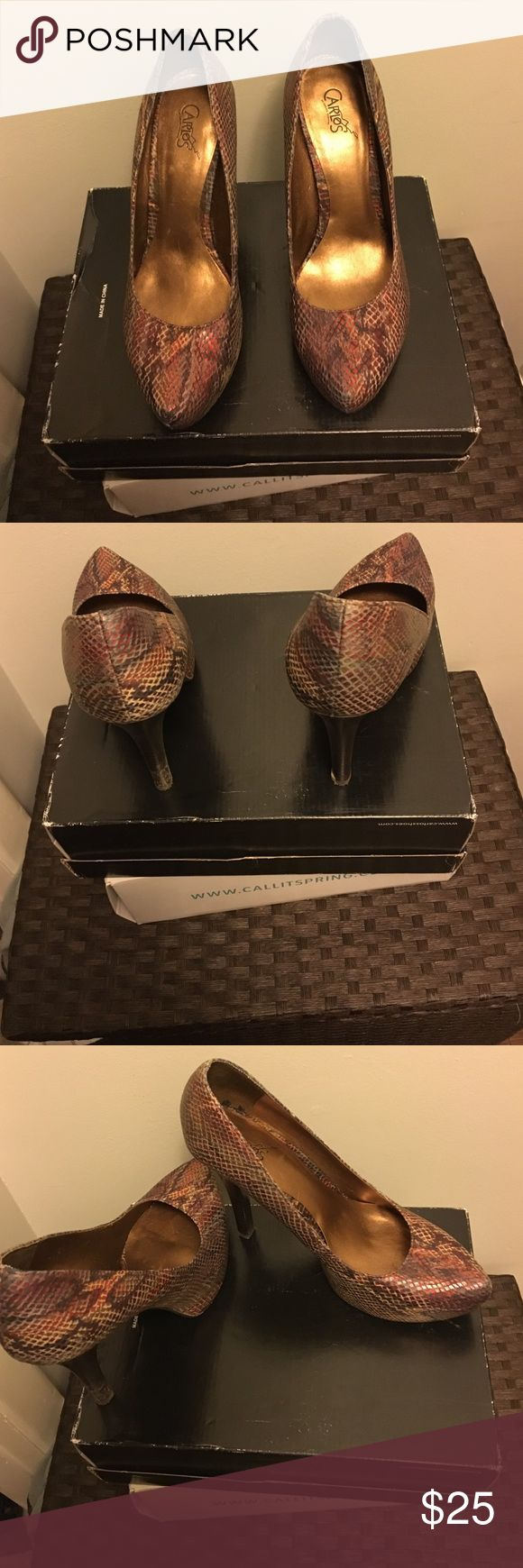 Red gold multi Red and gold python print pump. Worn once Carlos Santana Shoes Heels