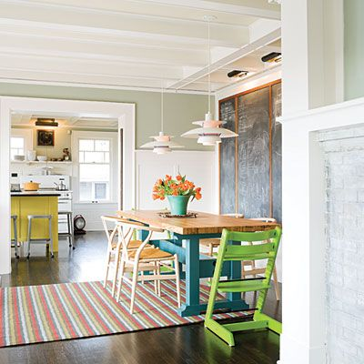 Chalkboard for the kiddies in the dining area from Sunset's: Color ideas from a playful house
