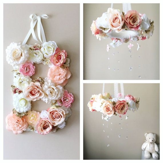 """Baby mobile and matching 14"""" flower letter, Floral mobile, Floral letter, mobile with genuine Swarovski crystals, Nursery decors, Crib mobil"""
