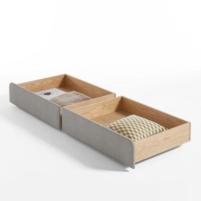 Les 2 tiroirs de rangement pour le lit ELORI. A utiliser sous le lit Elori, vendu sur notre site.Astucieux, ils permettent un gain d'espace, en toute discrétion.Caractéristiques des 2 tiroirs de rangement pour le lit ELORI :- Structure en pin multiplis et MDF plaqué frêne. Finition vernis nitrocellulosique.- Façade garnie de mousse polyéther 20 kg/m³.- Revêtement tissu 100 % polyester.- Montés sur roulettes unidirectionnelles.Retrouvez toute la chambre sur laredoute.frDimensions des ...