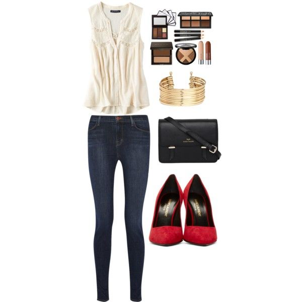 Untitled #40 by bestari09 on Polyvore featuring polyvore fashion style American Eagle Outfitters J Brand Yves Saint Laurent Sloane H&M