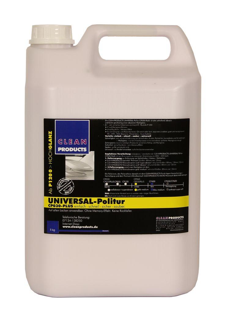 CLEANPRODUCTS Universal-Politur CP030-PLUS - 5 kg  Eine einzige Autopolitur für alle Arbeitsgänge und alle Autolacke. Einfach – schnell – sicher – sauber! Entfernt tiefe Kratzer, Gebrauchsspuren, Vermattungen, Fehlstellen und Schleifriefen (ab Anschliff / Rautiefe P1200) und bringt lackierte Oberflächen auf Hochglanz. Auf allen Auto-Glanzlacken und glänzenden Autofolien zuverlässig anwendbar. Für das Polieren mit der Poliermaschine und Handpolitur geeignet.