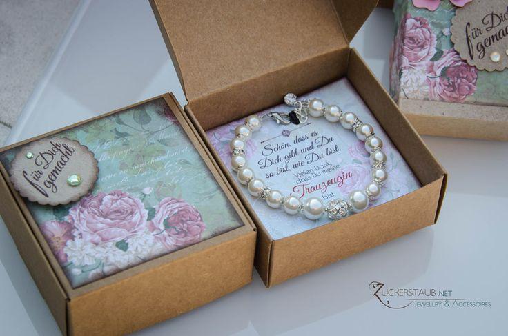 Trauzeugin Geschenk in Schachtel,Armband,Hochzeit von Zuckerstaub auf DaWanda.com