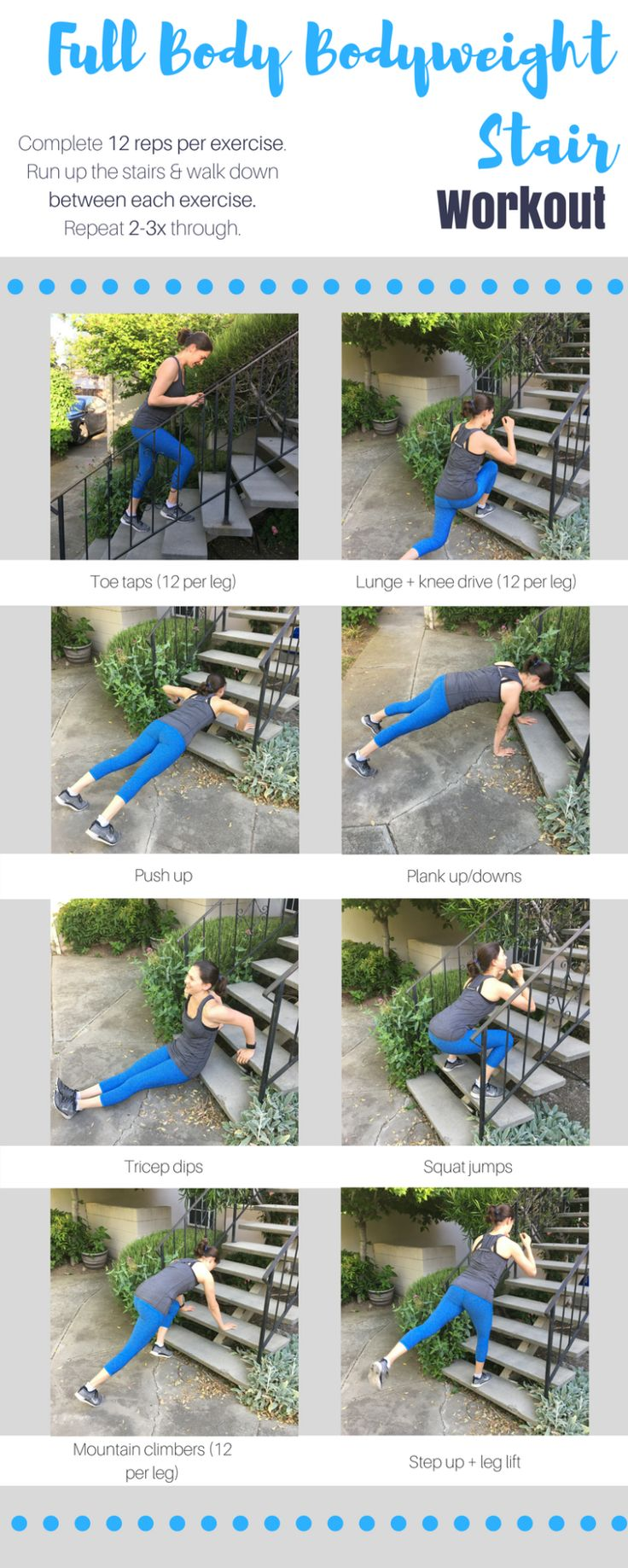 Today's full body bodyweight stair workout will work your entire body. One round will take about 6 minutes to complete, and I recommend completing 2-3 rounds for a full workout.