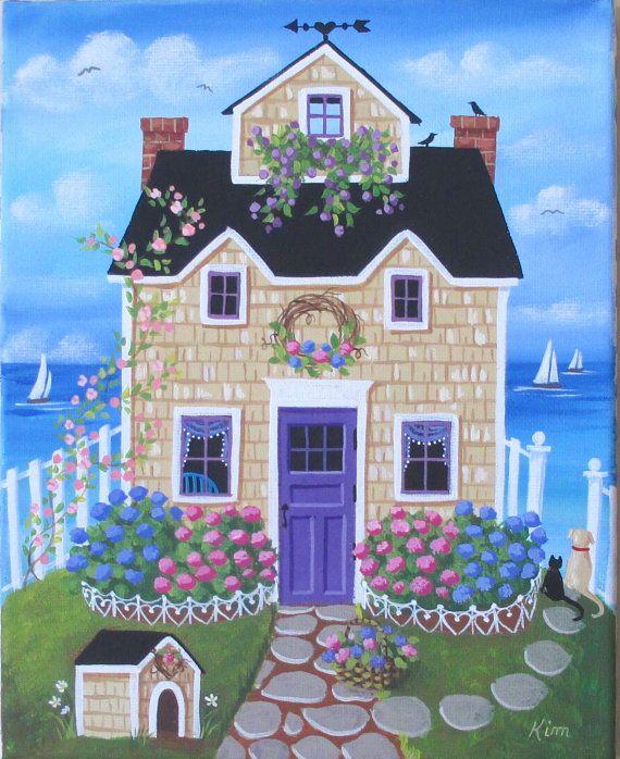 Hortensia Hill Cottage arte popular impresión por KimsCottageArt                                                                                                                                                                                 Más