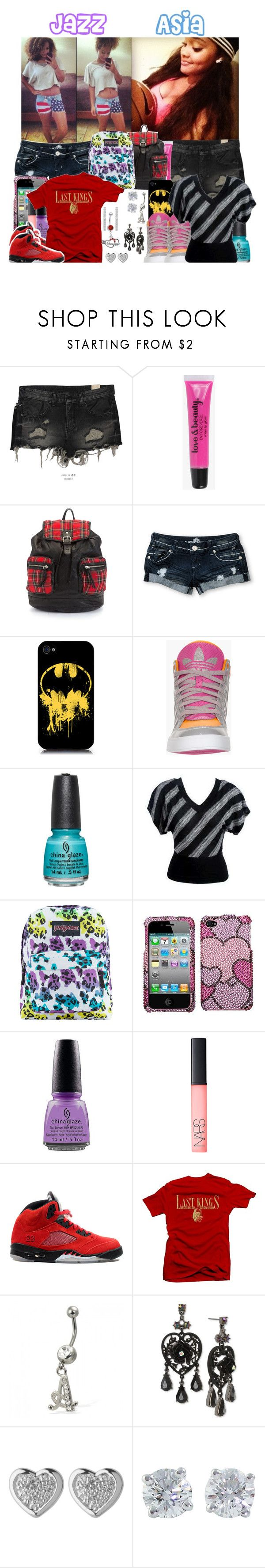 """1st Day of School"" by blvck-barbie ❤ liked on Polyvore featuring BBon-J, Forever 21, Almost Famous, adidas, China Glaze, JanSport, OPI, NARS Cosmetics, Retrò and Royalty Collection"