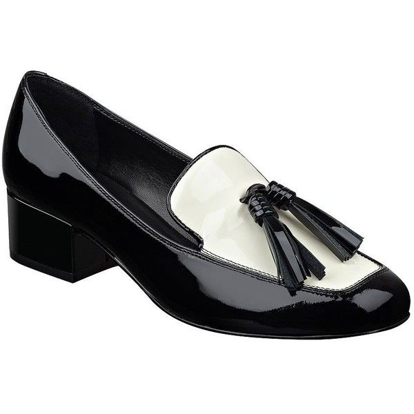 Marc Fisher LTD Women's Keisha Patent Leather Tassel Block Heel... ($51) ❤ liked on Polyvore featuring shoes, pumps, grey, tassel shoes, pull on shoes, slip on shoes, marc fisher ltd shoes and grey patent leather shoes