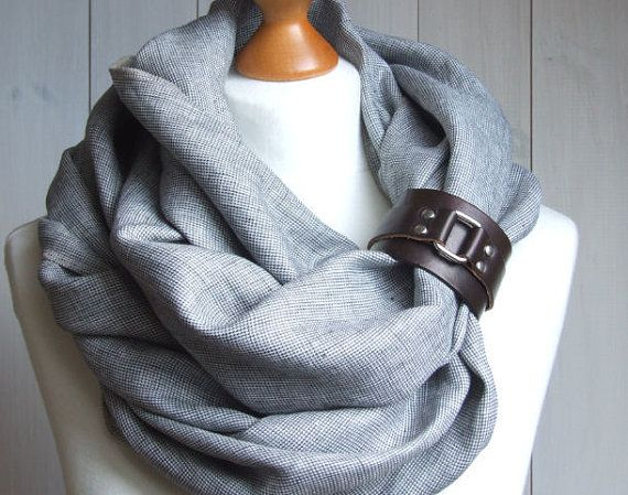 LINEN Infinity Scarf with leather cuff, high street fashion infinity scarf