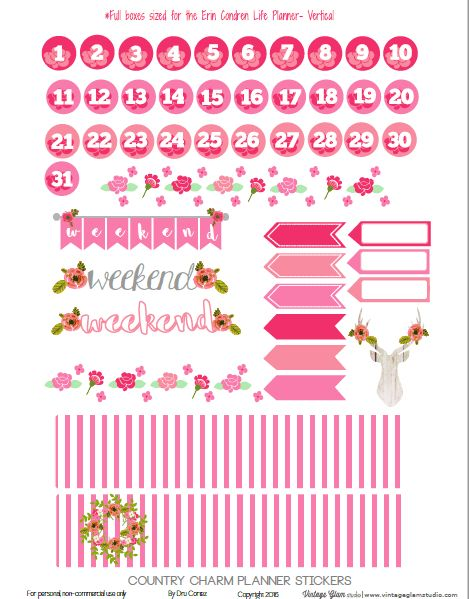 Free Printable Country Charm Planner Stickers {page 2} from Vintage Glam Studio