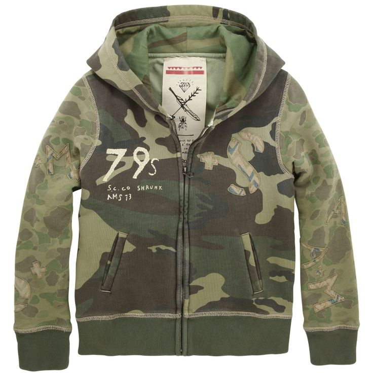 Camouflage fleece jacket with a lined hood. Full zip on the front and side pockets. Topstitching. - $ 117.33