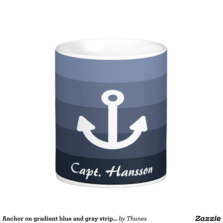 Anchor on gradient blue and gray stripes captain classic white coffee mug