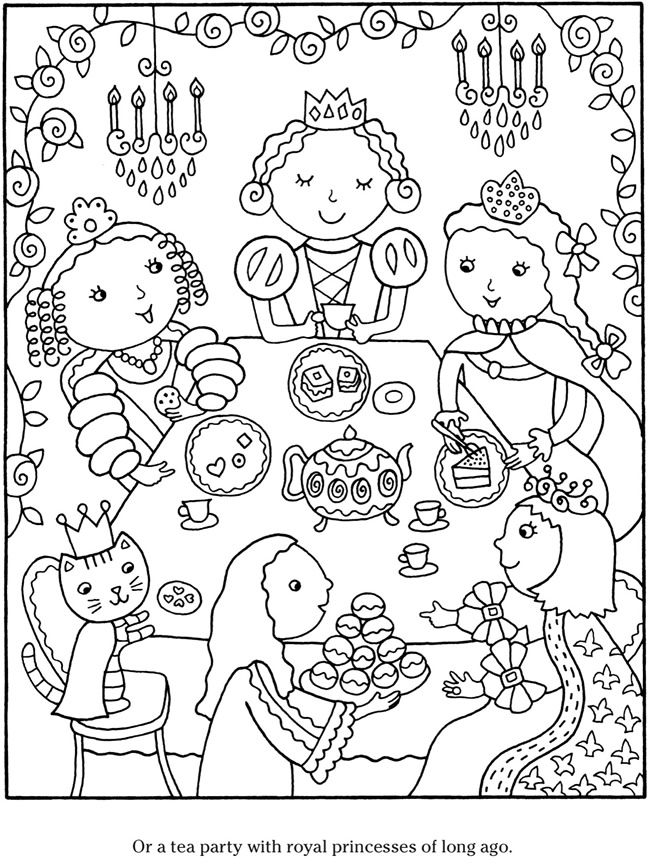 155 best coloring pages images on pinterest coloring for Tea party coloring page