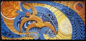 This example of the cultural renewal of Oceanic art was created by Cliff Whiting. The piece is also called a carved mural dure to the fact that it is a masterpiece of woodcrafting designed for the very modern enviornment. The mural depicts events in the Maori creation myth with the central figure as Tawhiri-Matea, the god of winds.