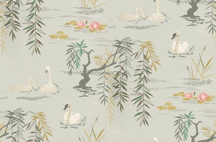 Swan Lake (NCW4020-01) - Nina Campbell Wallpapers - A beautifully observed lake scene of swans, weeping willow and waterlilies. Shown here with majestic white swans on a silver grey lake scene. Please ask for sample for true colour match.