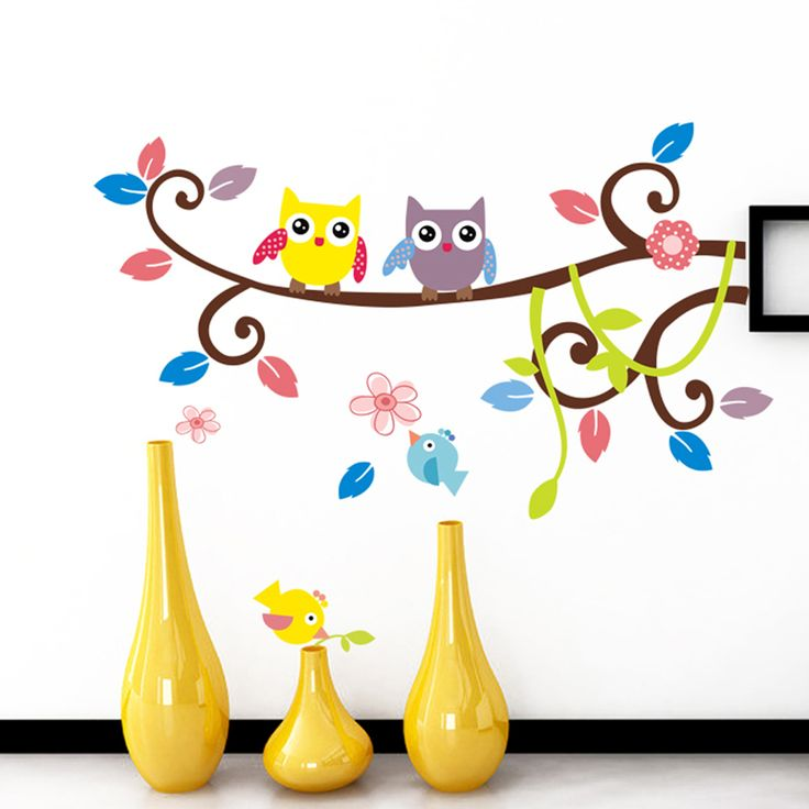 EHOME Owls On Trees Wall Stickers Kids Rooms Home Decor DIY Vinyl Wall Decals Birds Flowers Sticker * AliExpress Affiliate's buyable pin. Click the image to view the details on www.aliexpress.com #ToiletStickers