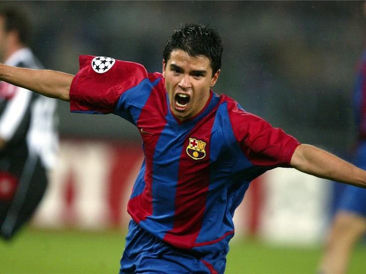 Javier Saviola jugant en el Barça