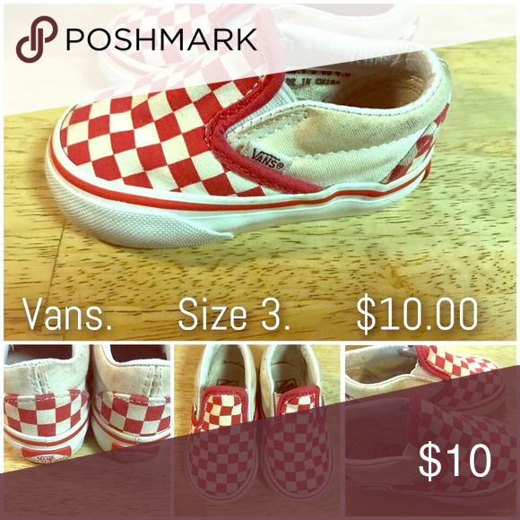 Infant Vans Red Checkered Slip Ons Classic red Checkered slip on Vans Size 3 Vans Shoes Sneakers