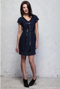 Blue Beaded Flapper Dress - Navy Sleeved Evening Dress