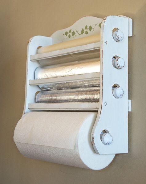 Shabby Chic Kitchen Dispenser / Wax Paper, Foil, Plastic Wrap, Paper Towels  /
