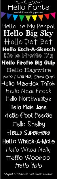Hello Literacy - New free fonts added 8.5.13