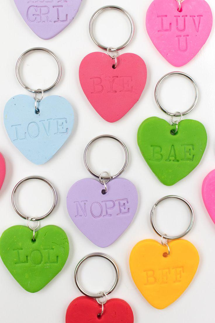 DIY Embossed Heart Keychains