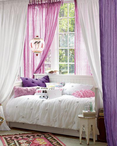.: Curtains, Pb Teens, Pbteen, Windows Seats, Girls Bedrooms, Mosquitoes Net, Bedrooms Idea, Purple Bedrooms, Girls Rooms