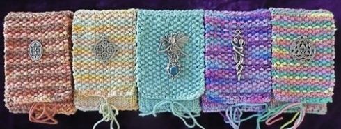 Knitted Tarot bags. Free pattern from Mary K. Greer