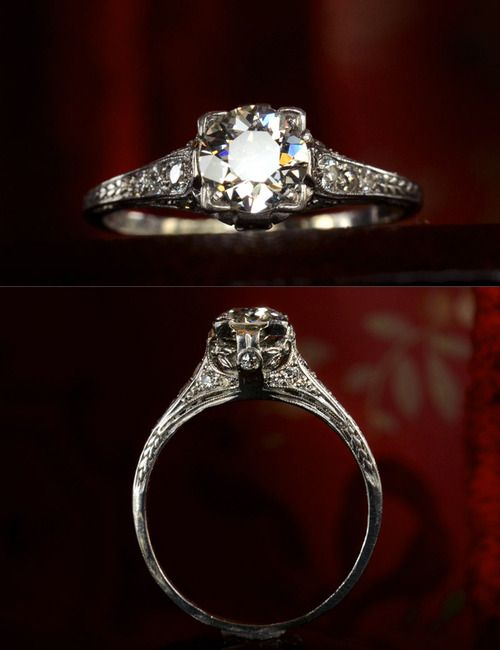 1910-20s Edwardian 0.66ct European Cut Diamond (H/I VS2) Engagement Ring, Platinum, ~0.34ctw Diamond Sides, $4750 One of the most beautiful Edwardian engagement rings Ive seen in a while. I see a lot of Edwardian rings that I love for their intricacies and craftsmanship, but dont buy because theyre just a little too frilly. This one has all the nice engraving, filigree, and diamond-studdedness, but still retains a very sleek and refined silhouette.