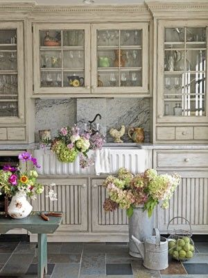 French country kitchen decorating carriage house - Glorious grey walls kitchen telling shades neutral ...