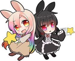 It is a pretty Sticker of rabbit ear girls.