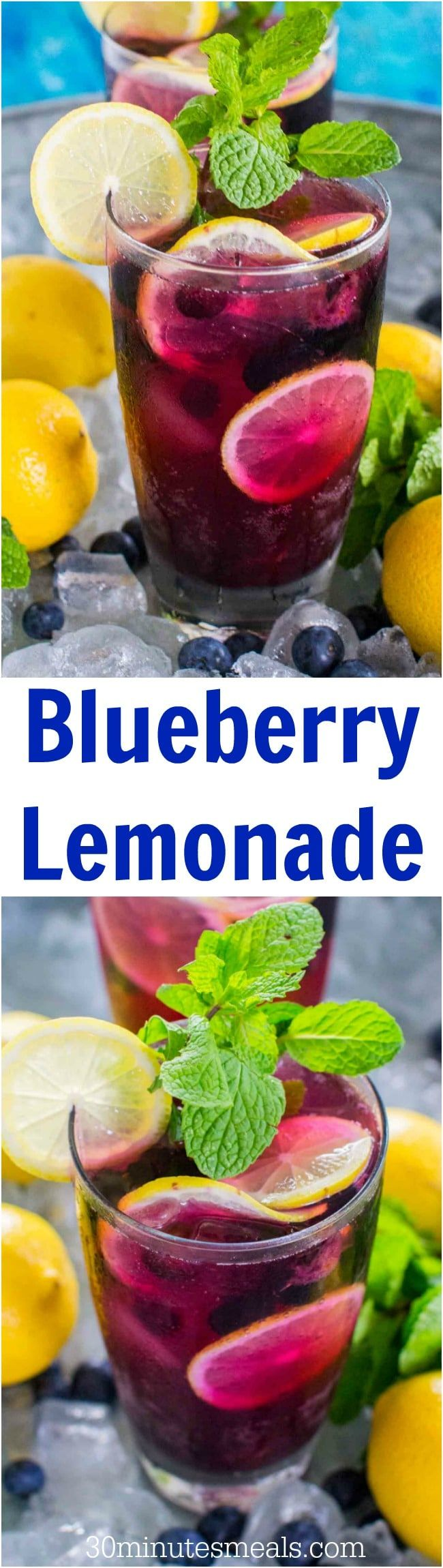 Sweet and refreshing Blueberry Lemonade tastes delicious and refreshing year round. Made easy with sweet blueberry simple syrup and fresh lemon juice. #lemonade #blueberry