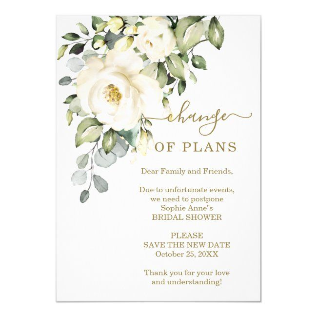 Change Of Plans Floral Bridal Shower Postponed Invitation Zazzle