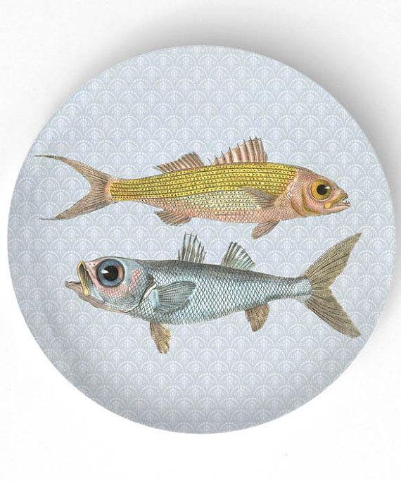 Fish - 1800s ruby snapper and bulls-eye fish artwork  - 10 inch Melamine Plate