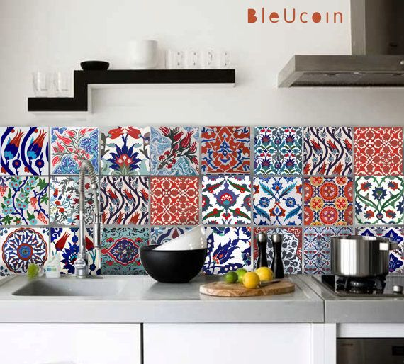 Tile decal  Turkish tile decals  22 Designs 2 sets 44 by Bleucoin, $68.49
