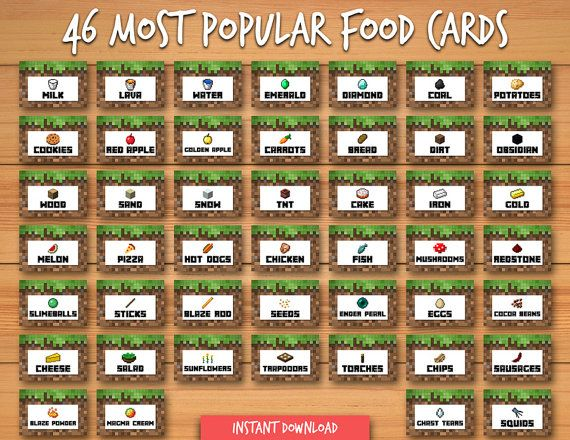 Free Food Labels For Minecraft Party
