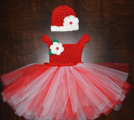 Christmas Crochet Red & White Tulle Tutu Dress by CubbyCreations, $60.00